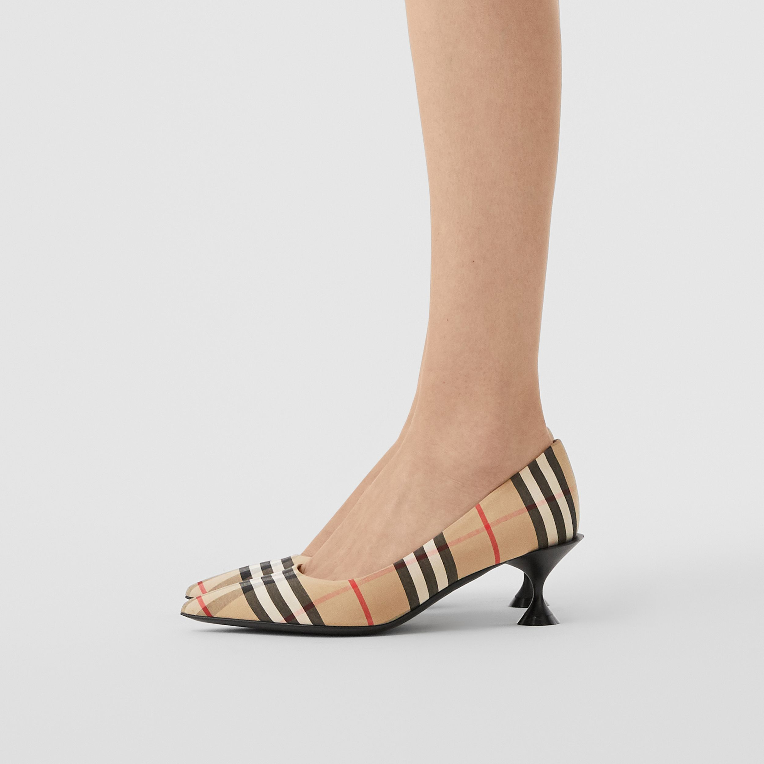 Vintage Check Cotton Pumps in Archive Beige - Women | Burberry - 3