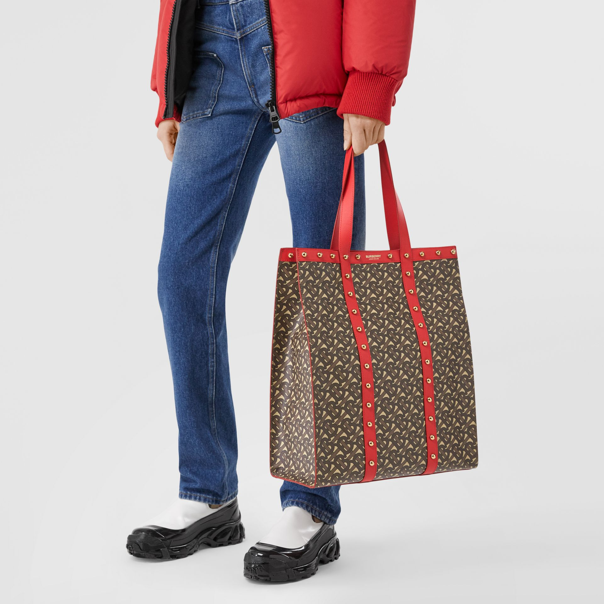 Monogram Print E-canvas Portrait Tote Bag in Bright Red - Women | Burberry - gallery image 2