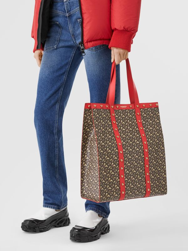 Monogram Print E-canvas Portrait Tote Bag in Bright Red - Women | Burberry - cell image 2