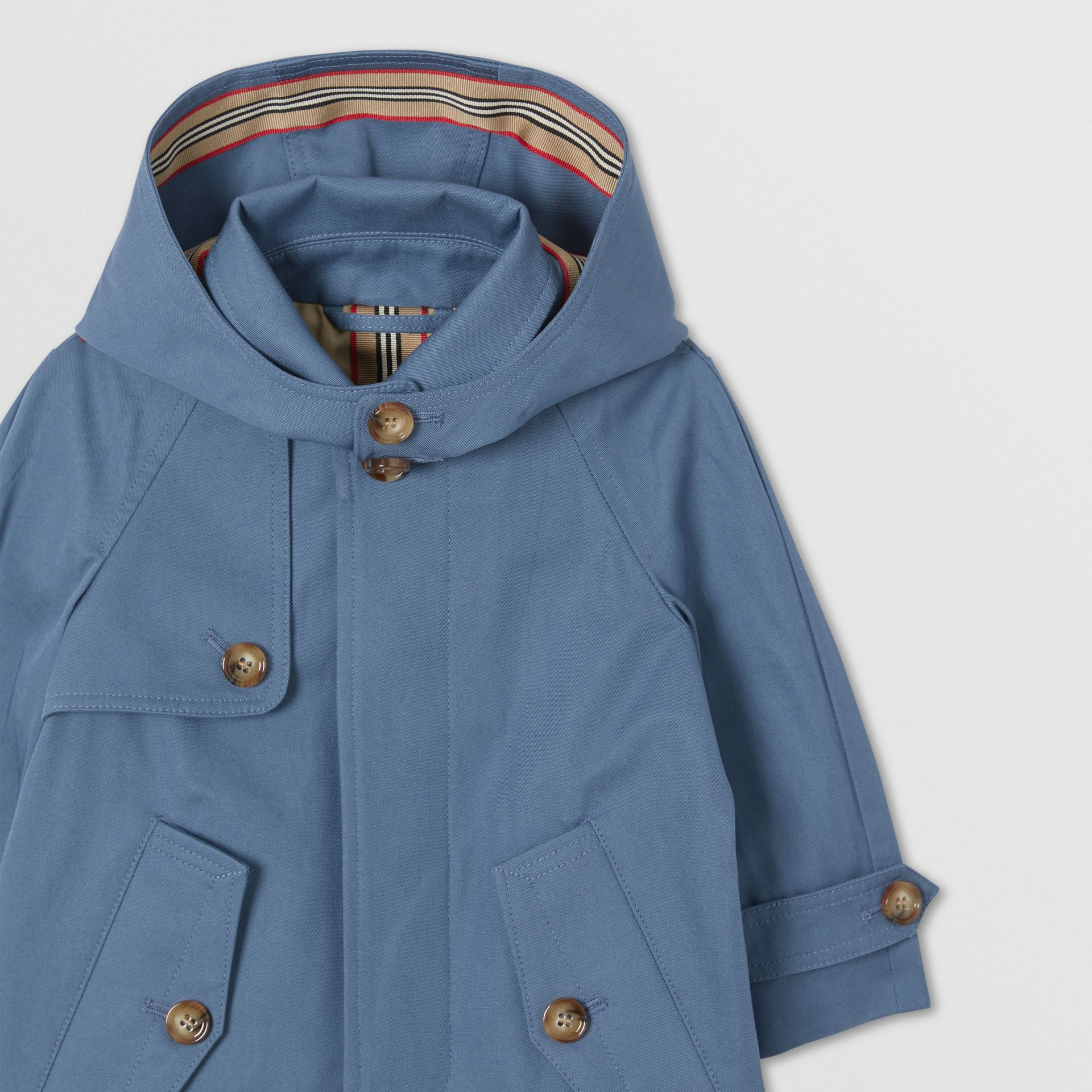Detachable Hood Cotton Twill Car Coat in Steel Blue - Children | Burberry - gallery image 4