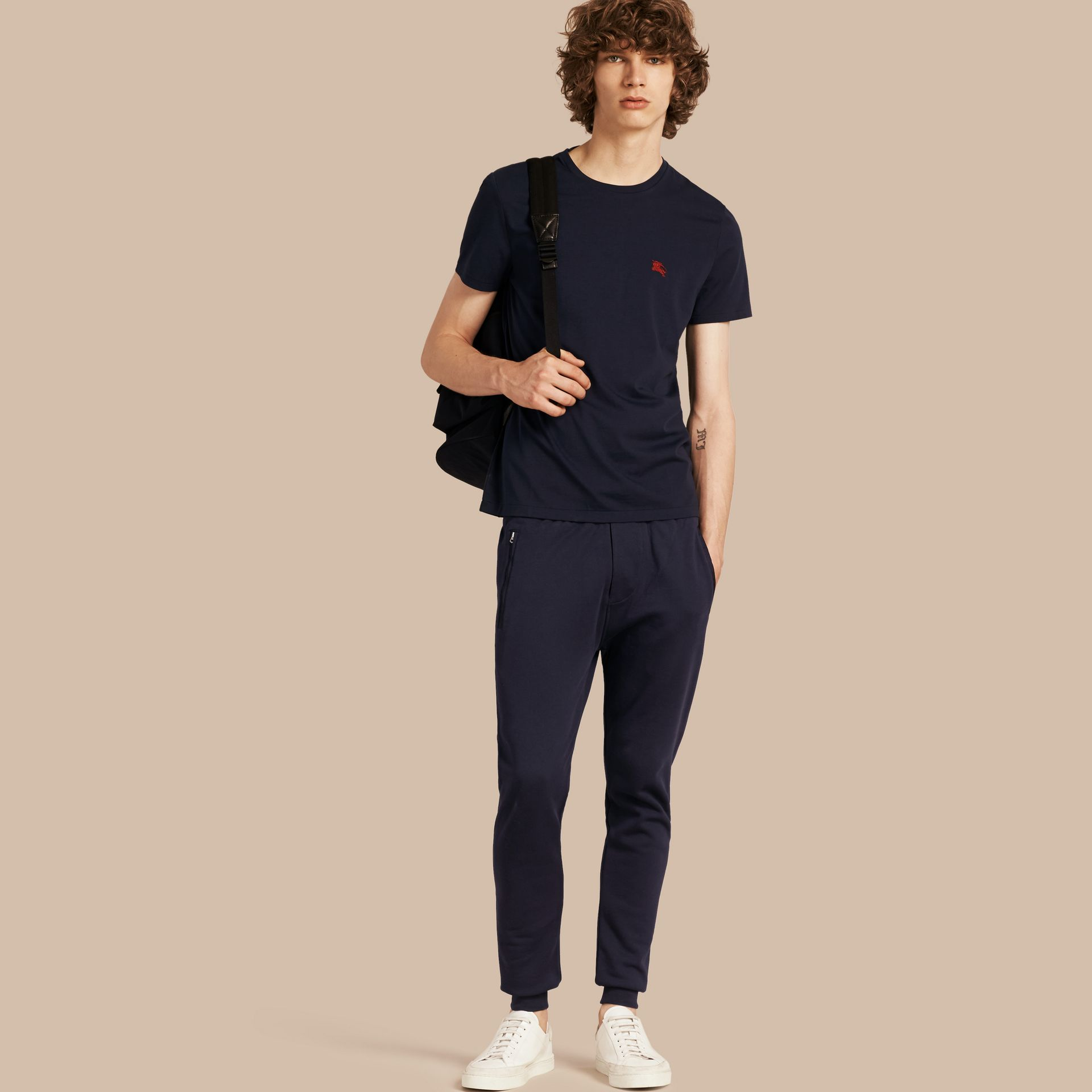Navy Cotton Sweat pants Navy - gallery image 1