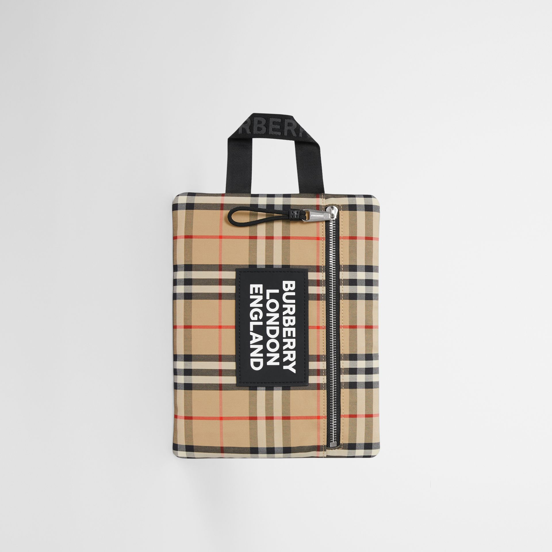 Logo Detail Vintage Check Portrait Pouch in Archive Beige | Burberry - gallery image 0