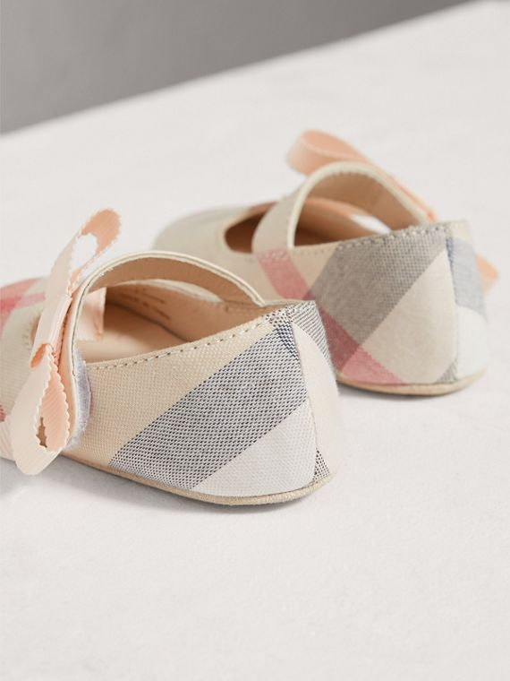 Bow Detail Check Cotton and Leather Ballerinas in Pale Classic | Burberry - cell image 2