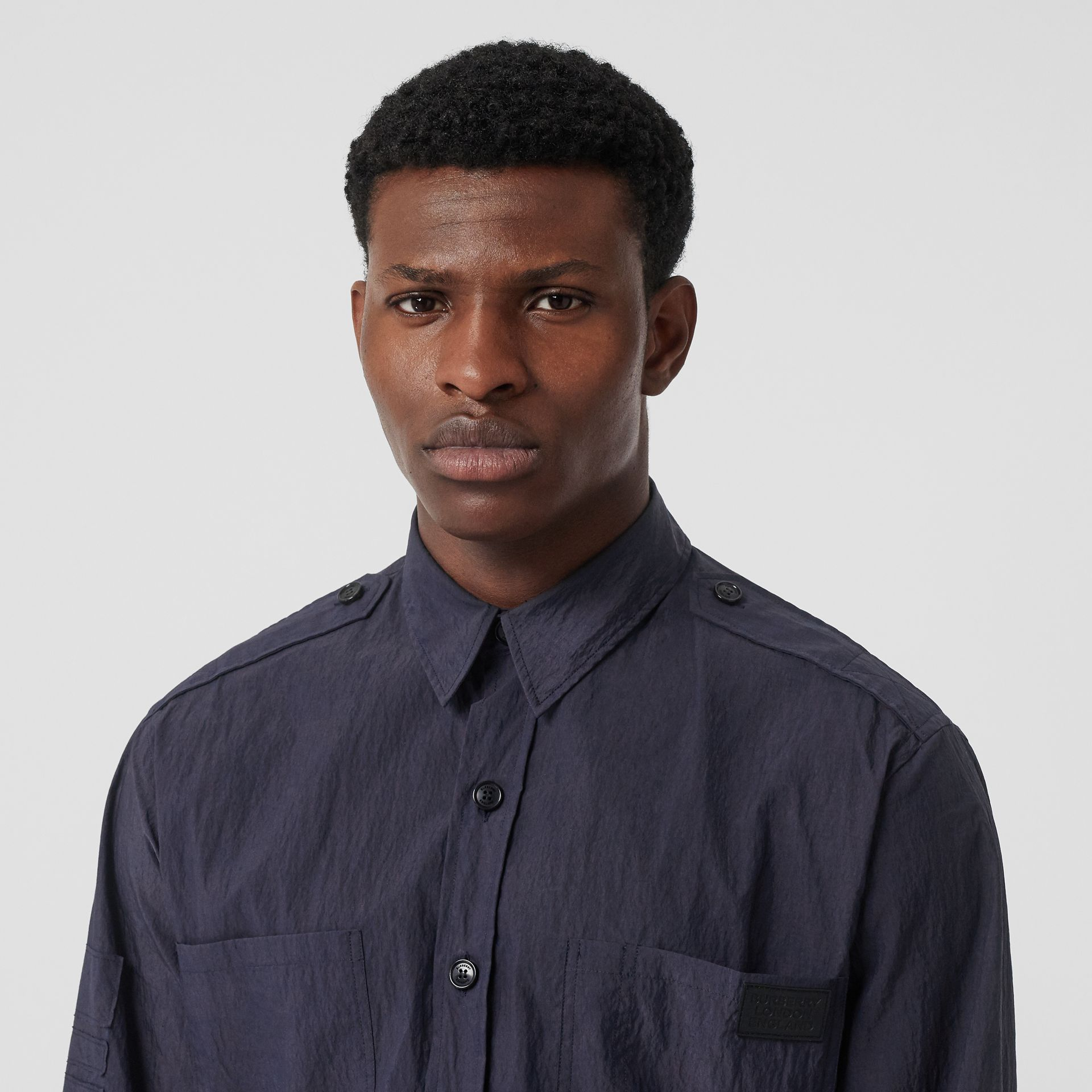Crinkled Cotton Blend Shirt in Navy - Men | Burberry United Kingdom - gallery image 1