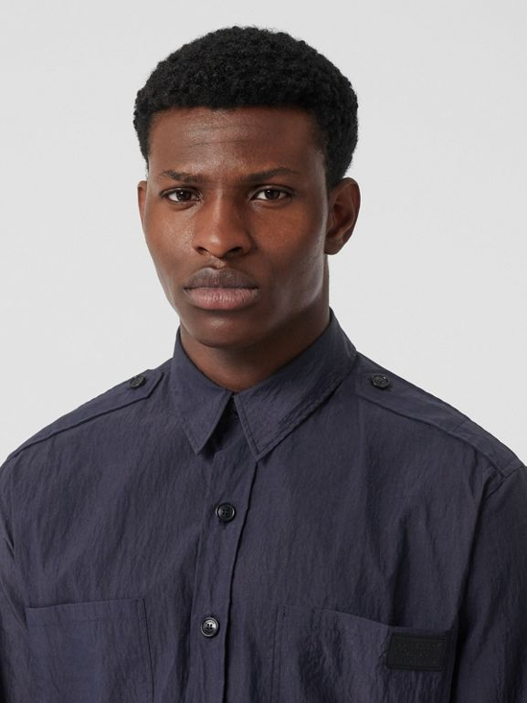 Crinkled Cotton Blend Shirt in Navy - Men | Burberry United Kingdom - cell image 1