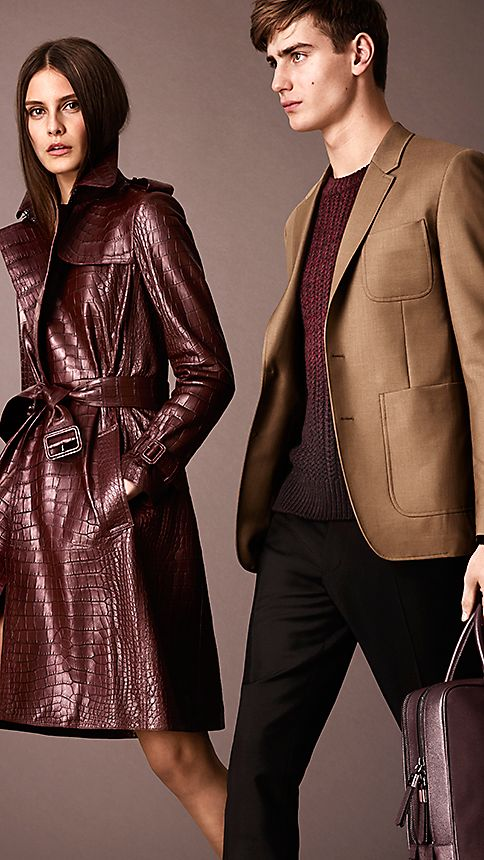 Maroon Alligator Wrap Trench Coat - Image 4