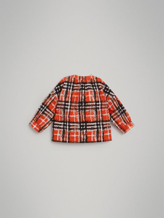 Scribble Check Print Cotton Shirt in Bright Red | Burberry Singapore - cell image 3