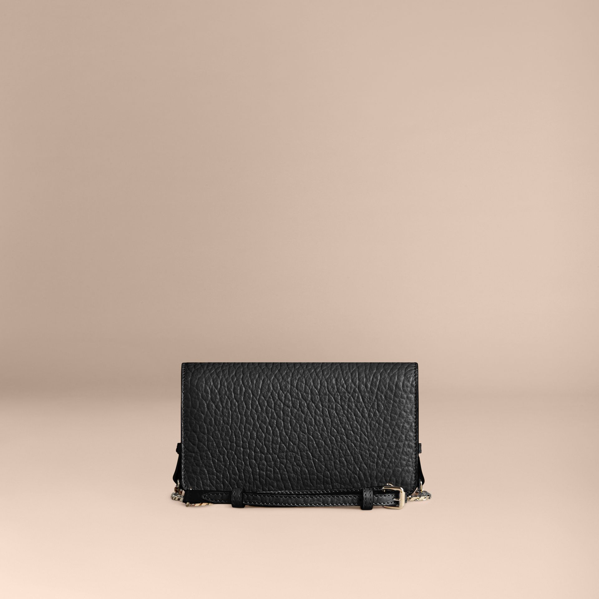 Black Small signature Grain Leather Clutch Bag with Chain Black - gallery image 4