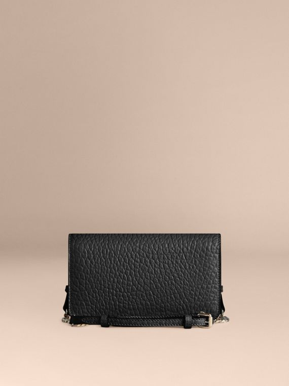 Black Small signature Grain Leather Clutch Bag with Chain Black - cell image 3