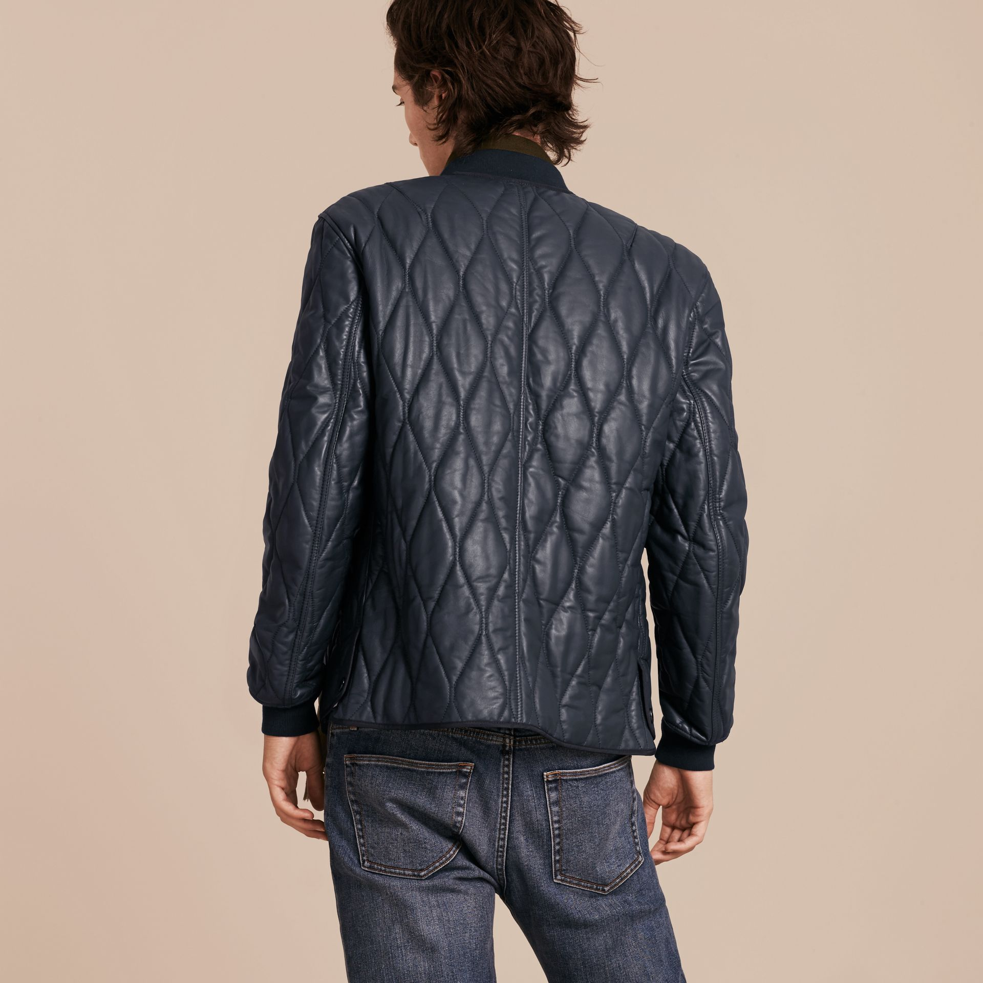 Navy Quilted Lambskin Jacket - gallery image 3