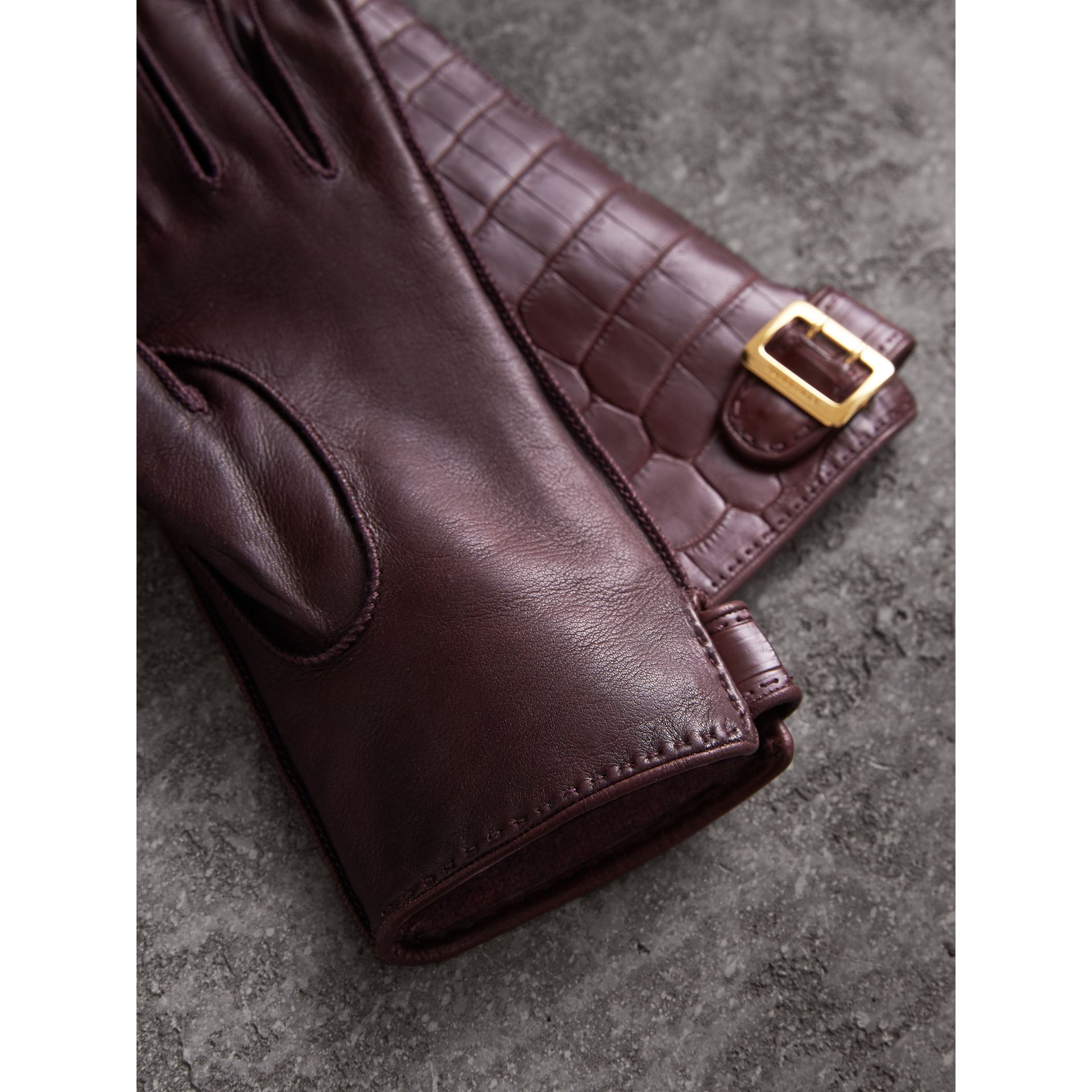 Crocodile and Lambskin Gloves in Burgundy - Women | Burberry - gallery image 3