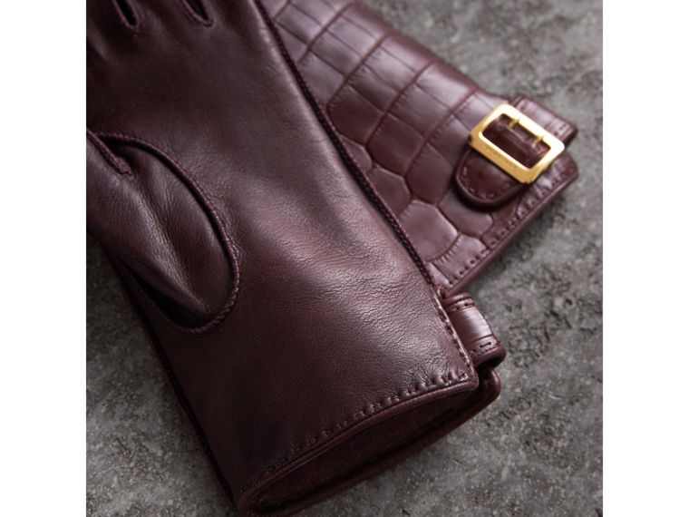 Crocodile and Lambskin Gloves in Burgundy - Women | Burberry - cell image 2