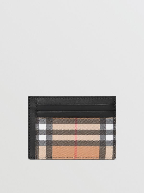 Vintage Check Leather Card Case in Black - Men | Burberry Singapore - cell image 2