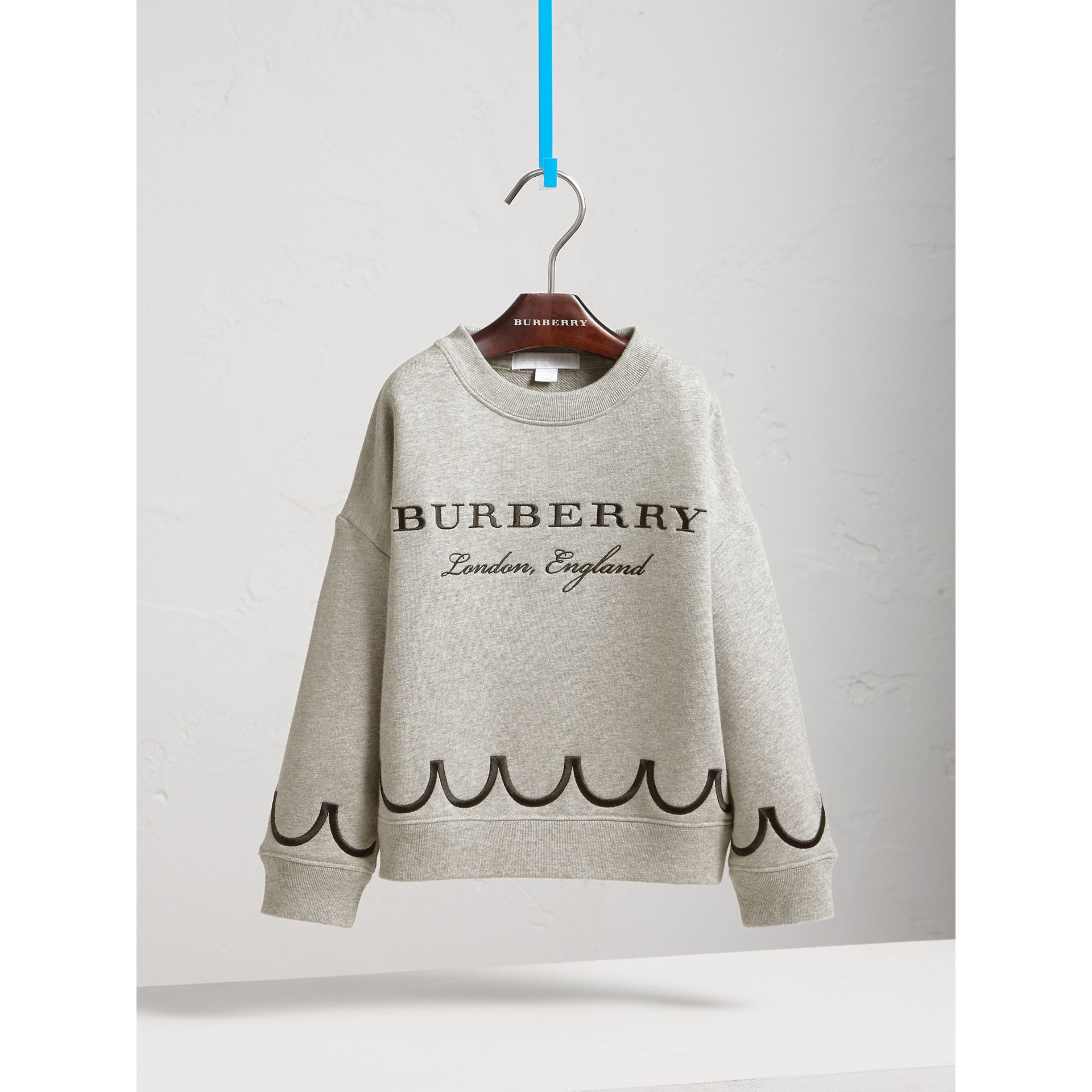 Scallop Detail Cotton Jersey Sweatshirt in Grey Melange - Girl | Burberry Singapore - gallery image 3