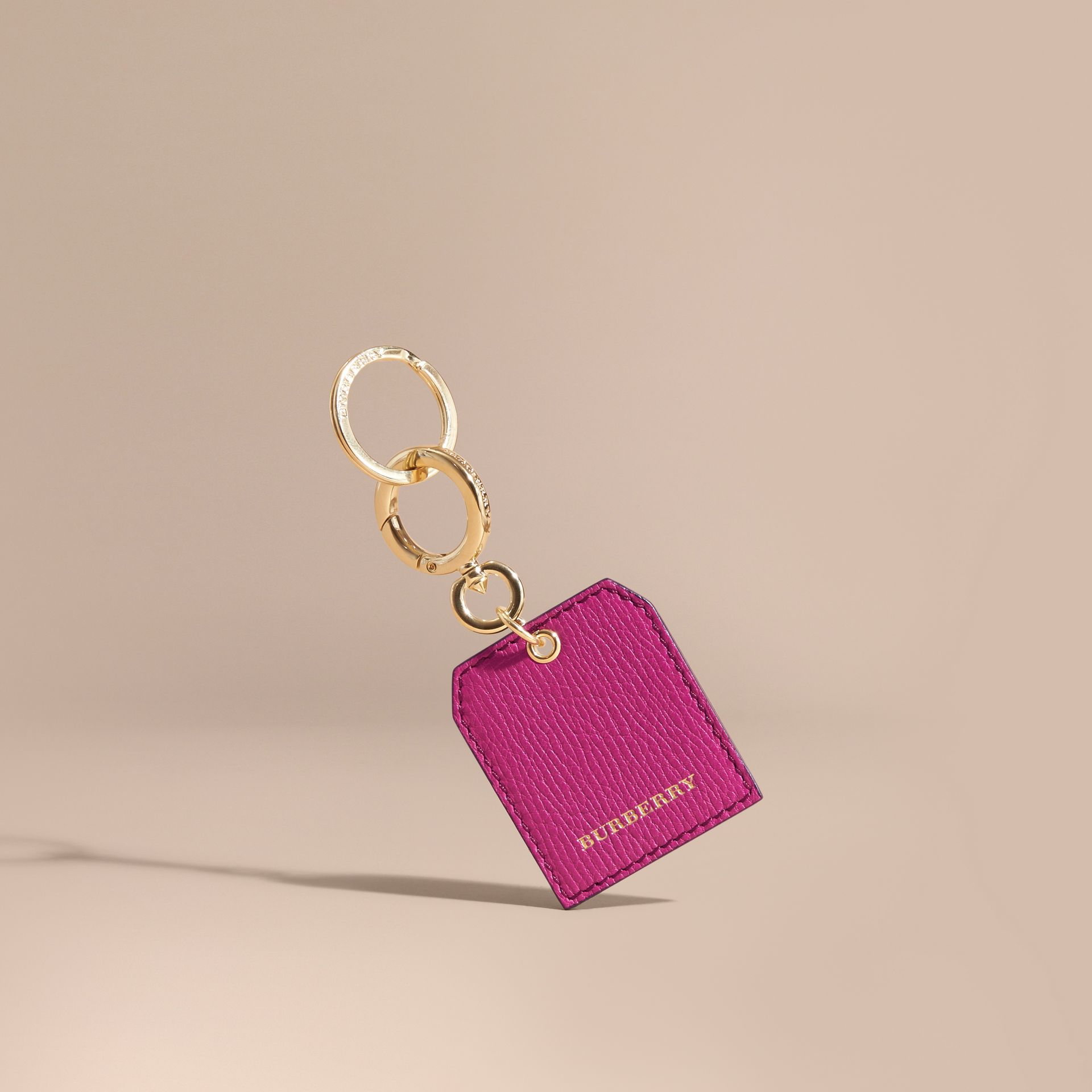 Grainy Leather Key Charm in Brilliant Fuchsia - Women | Burberry - gallery image 1