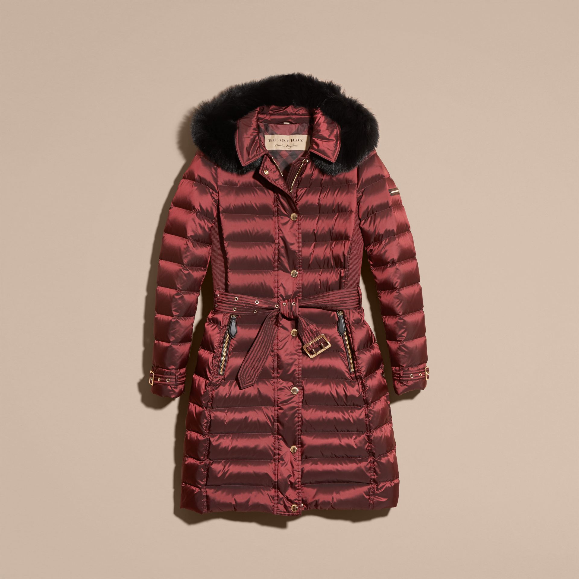 Down-filled Coat with Fox Fur Trim Hood in Burgundy - Women | Burberry - gallery image 4