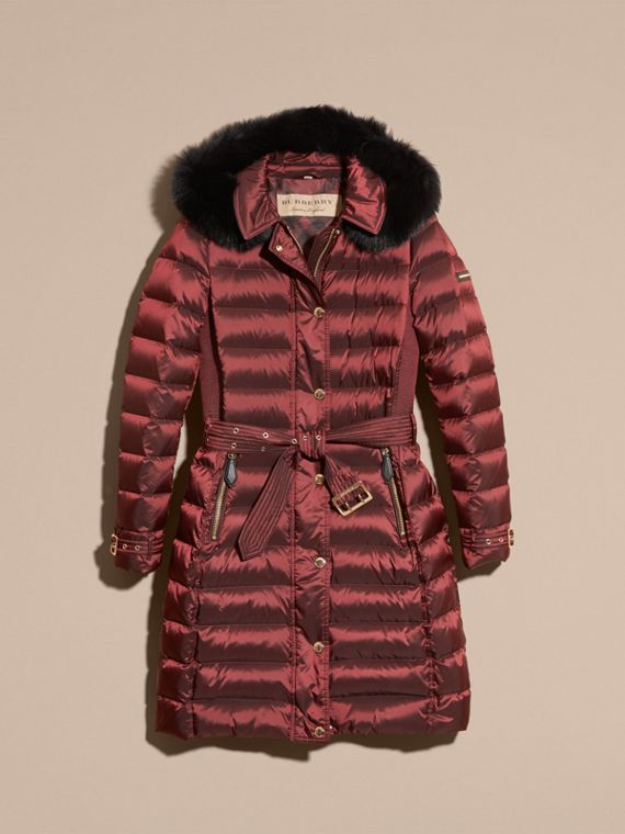Down-filled Coat with Fox Fur Trim Hood in Burgundy - Women | Burberry - cell image 3