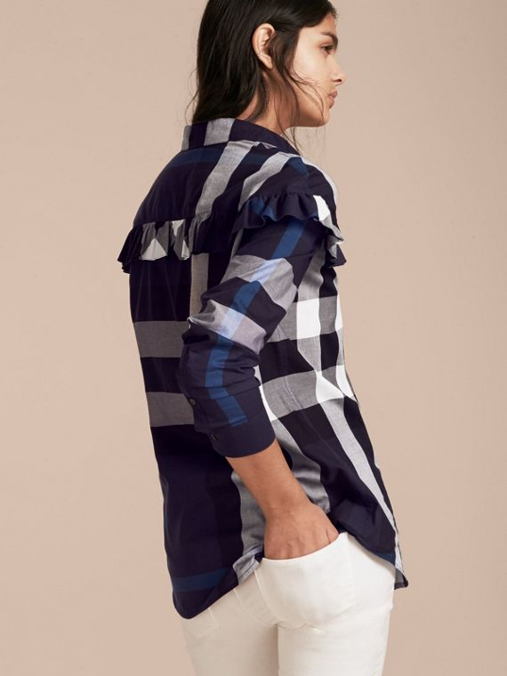 Navy Check Cotton Frill Detail Shirt Navy - cell image 2
