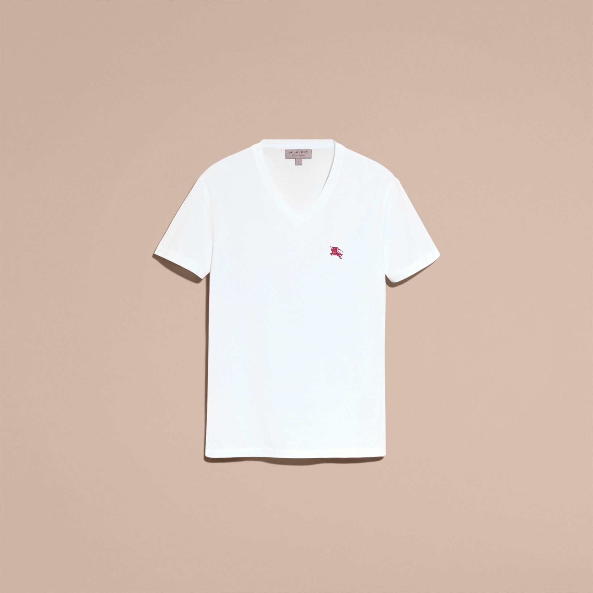 Cotton V-neck T-shirt in Optic White - Men | Burberry - gallery image 4