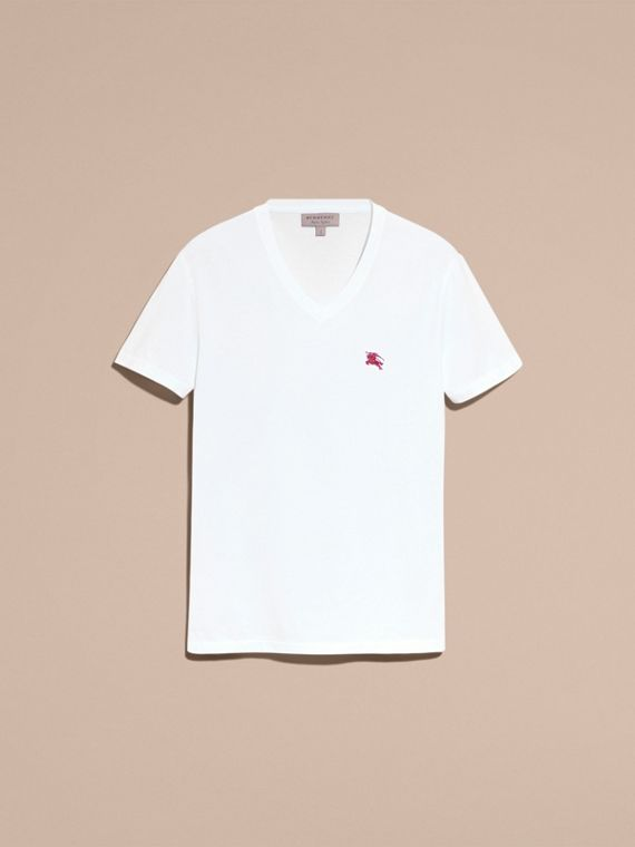Cotton V-neck T-shirt in Optic White - Men | Burberry - cell image 3