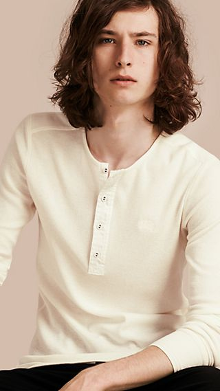 Ribbed Cotton Wool Henley Top