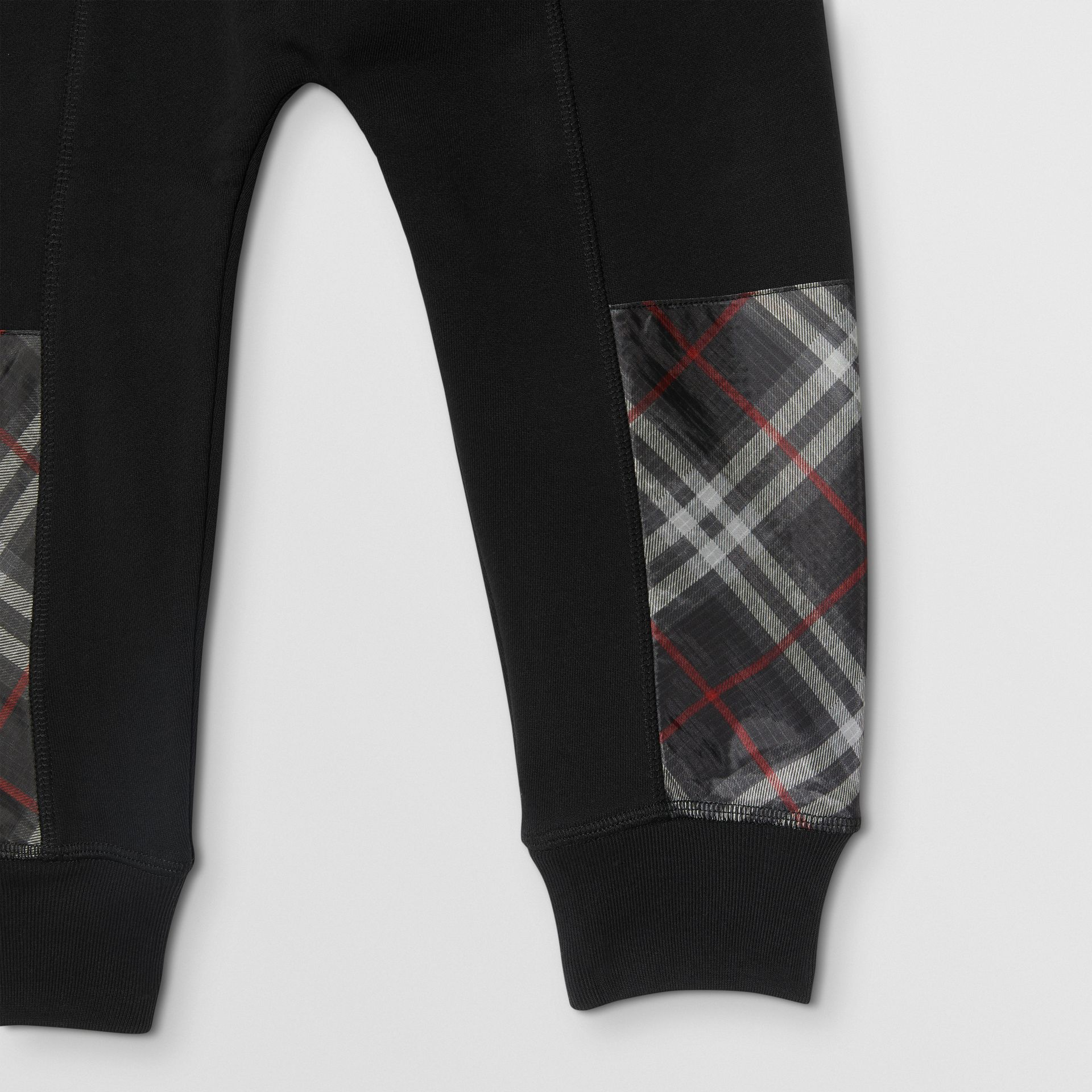 Vintage Check Panel Cotton Trackpants in Black - Boy | Burberry - gallery image 4