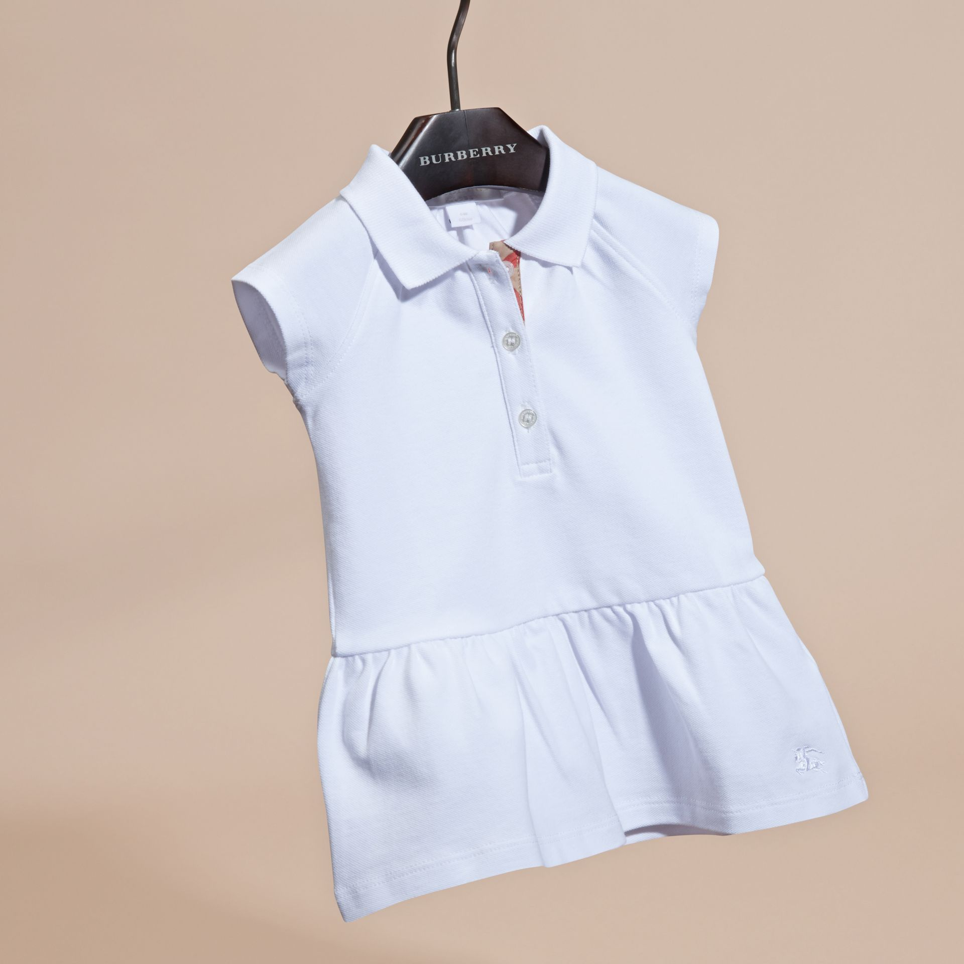 White Stretch Cotton Piqué Dress - gallery image 3