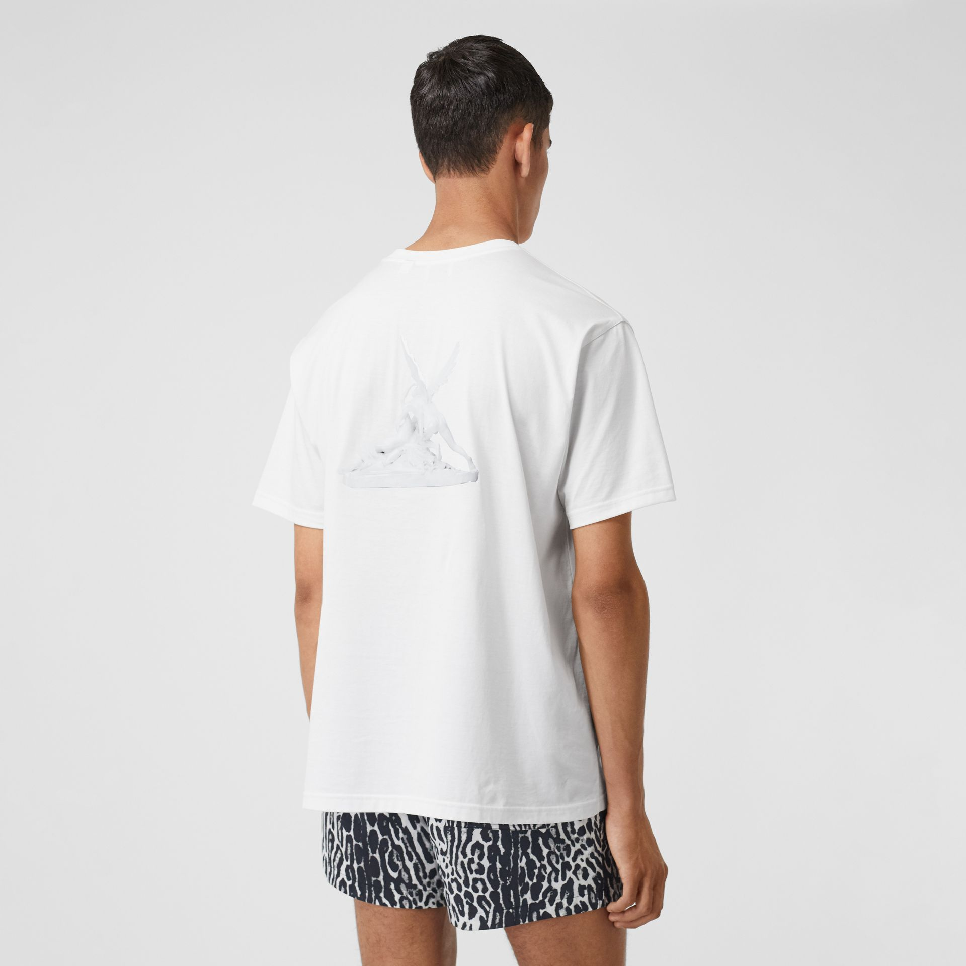 Cupid Print Cotton Oversized T-shirt in White - Men | Burberry - gallery image 2
