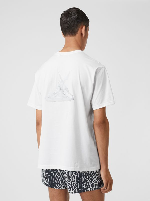 Cupid Print Cotton Oversized T-shirt in White - Men | Burberry - cell image 2
