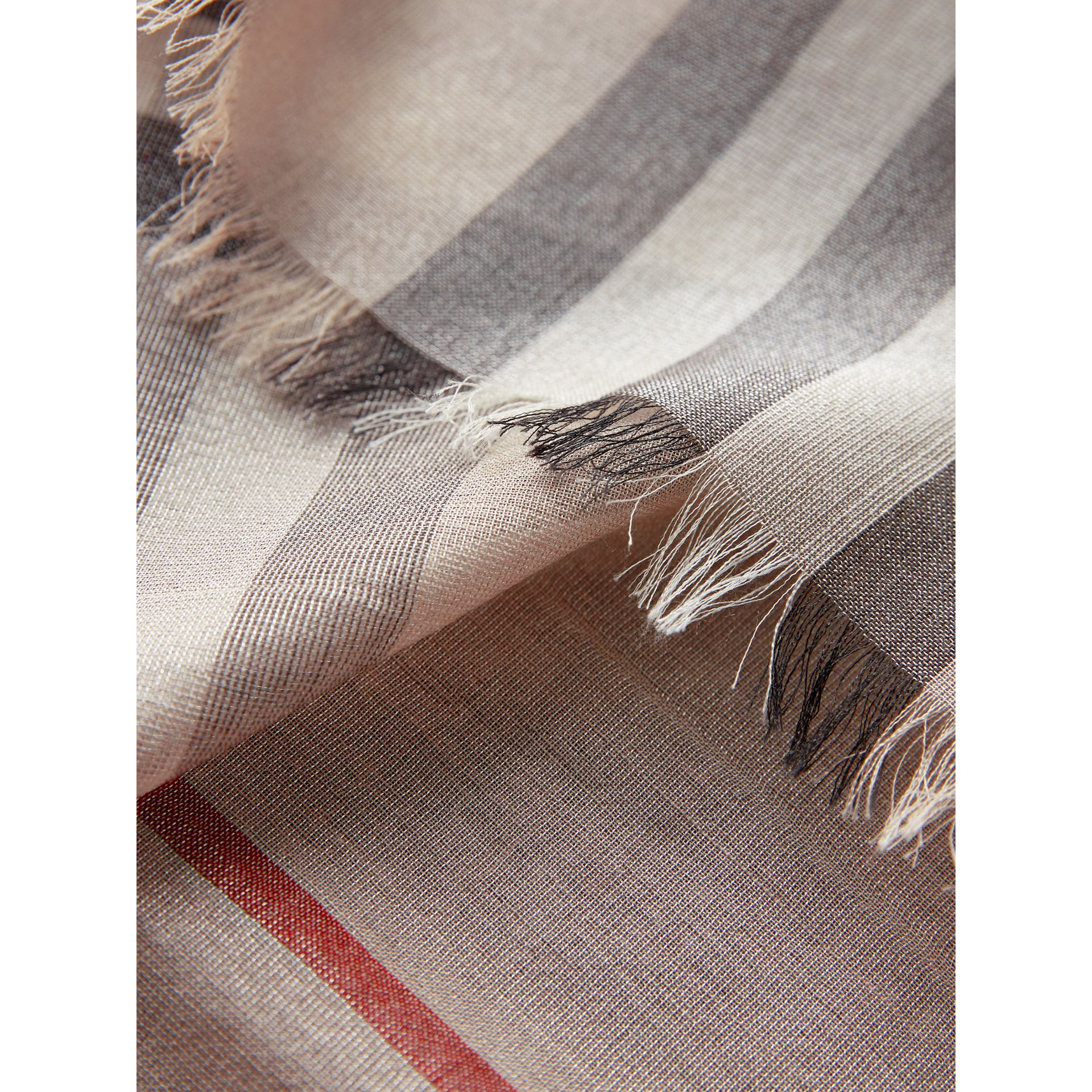 Metallic Check Silk and Wool Scarf in Stone/ Silver - Women | Burberry - gallery image 2