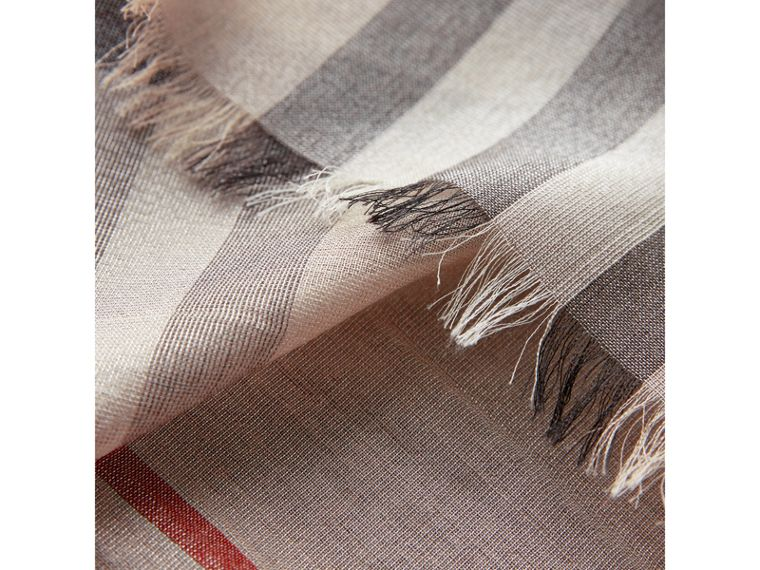Metallic Check Silk and Wool Scarf in Stone/ Silver - Women | Burberry - cell image 1