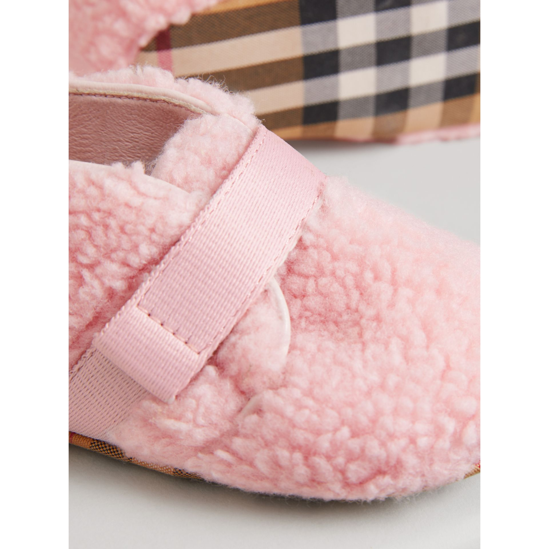 Faux Fur and Vintage Check Booties in Ice Pink - Children | Burberry - gallery image 1