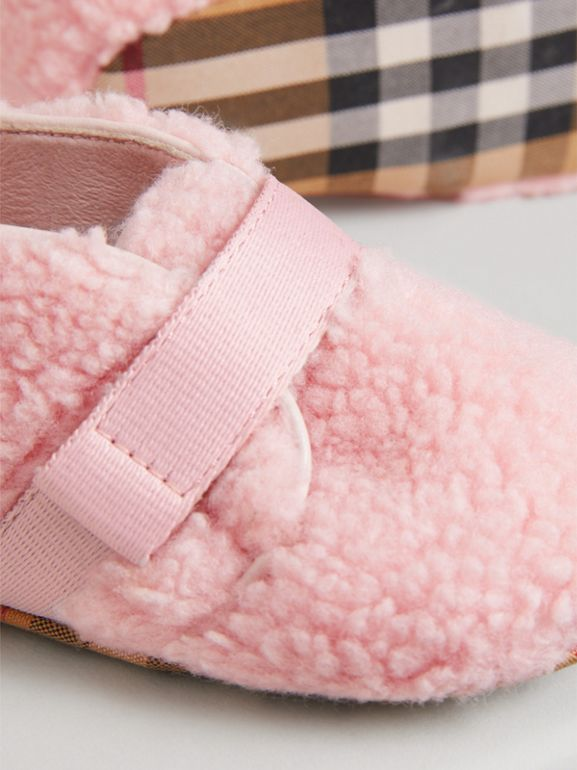 Faux Fur and Vintage Check Booties in Ice Pink - Children | Burberry - cell image 1