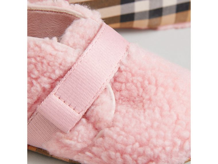 Faux Fur and Vintage Check Booties in Ice Pink | Burberry - cell image 1