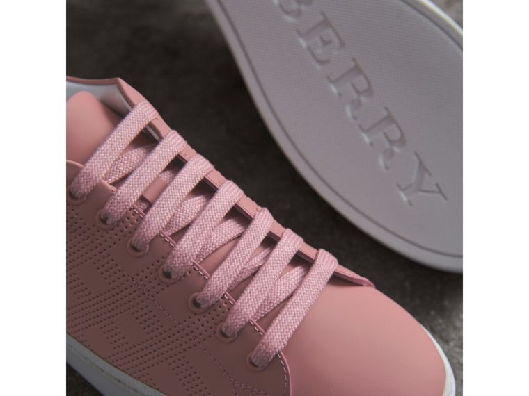 Perforated Check Leather Trainers in Rose Pink - Women | Burberry - cell image 4
