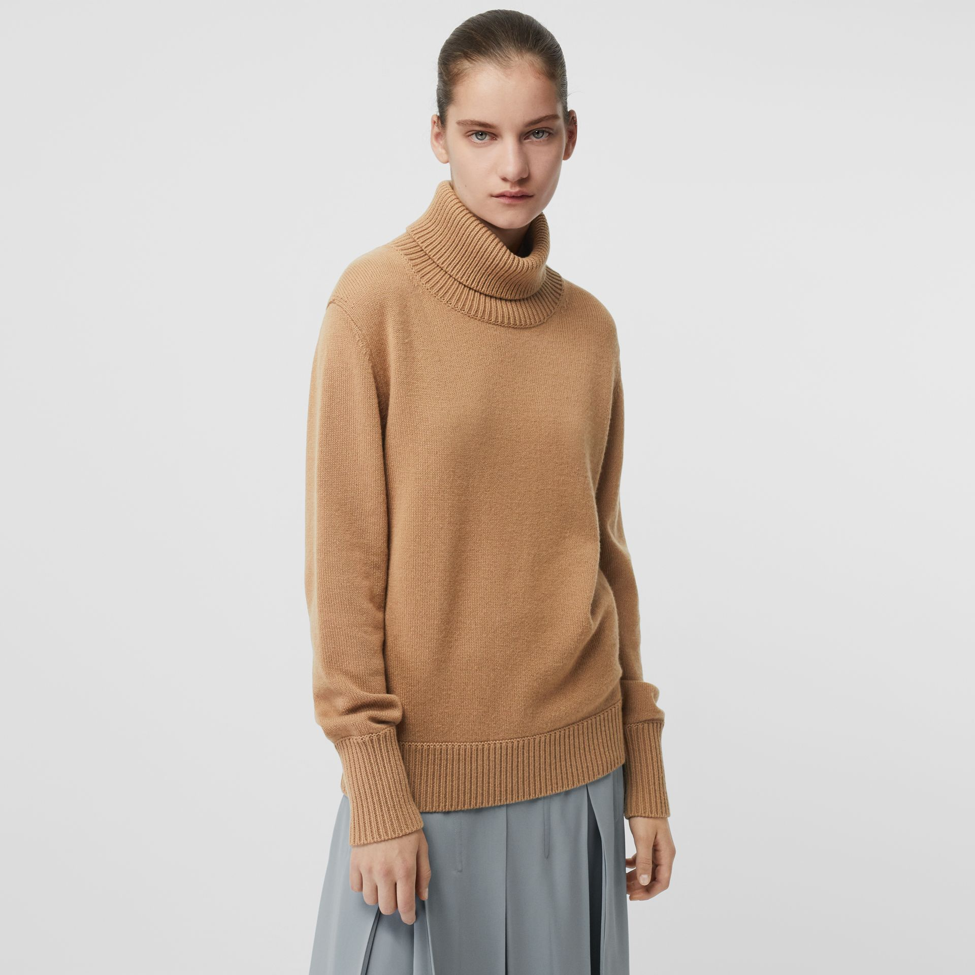 Embroidered Crest Cashmere Roll-neck Sweater in Camel - Women | Burberry - gallery image 0