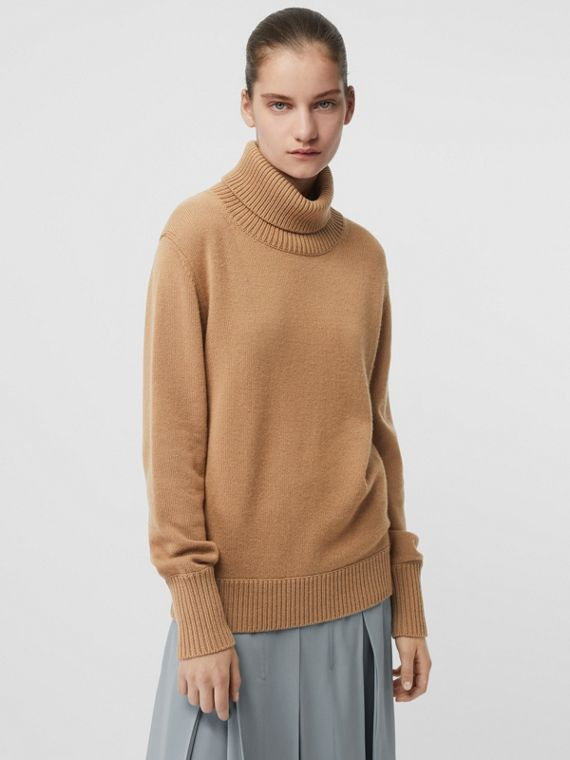 Embroidered Crest Cashmere Roll-neck Sweater in Camel
