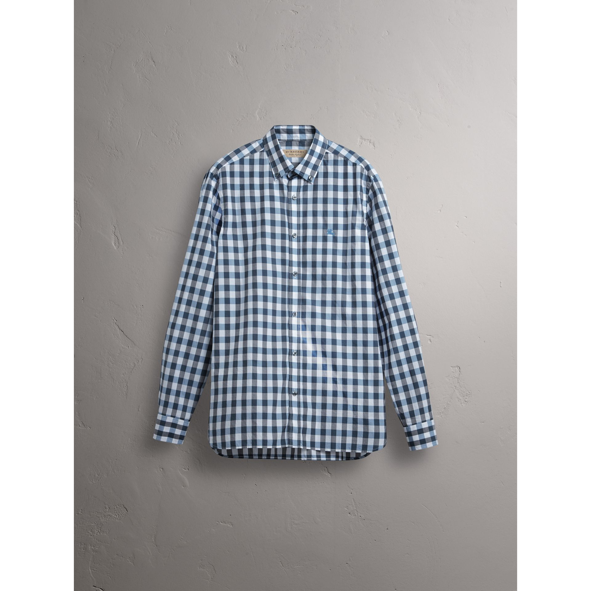 Button-down Collar Gingham Cotton Shirt in Mineral Blue - Men | Burberry - gallery image 3