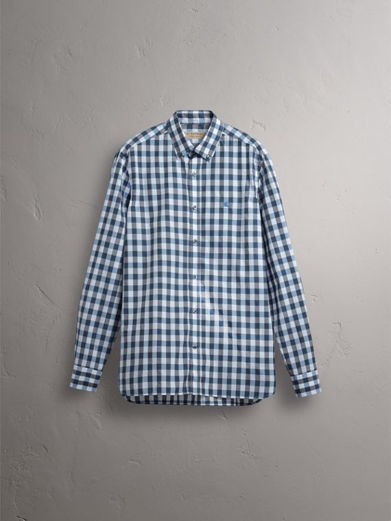Button-down Collar Gingham Cotton Shirt in Mineral Blue - Men | Burberry - cell image 3