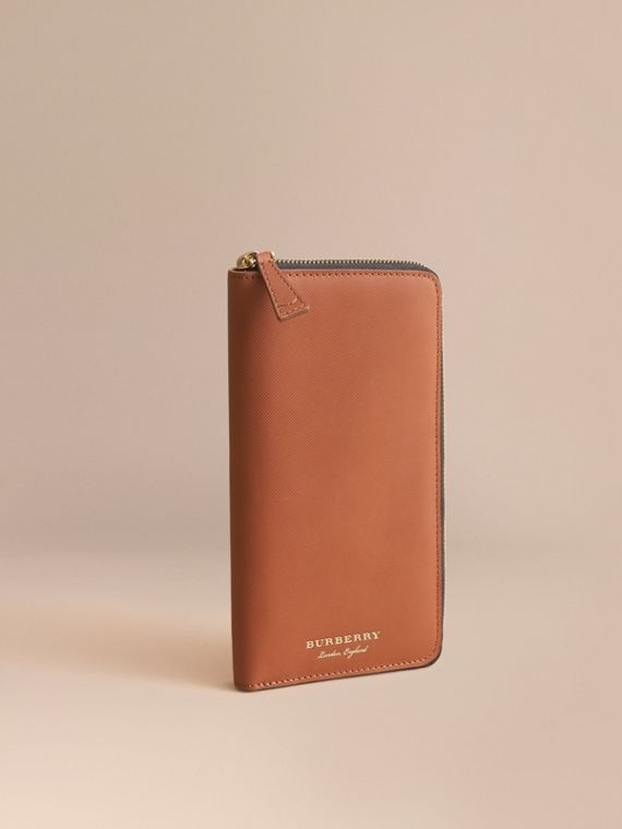 Trench Leather Ziparound Wallet in Tan