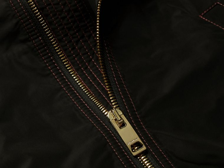 Black Lightweight Topstitch Detail Taffeta Bomber Jacket - cell image 1