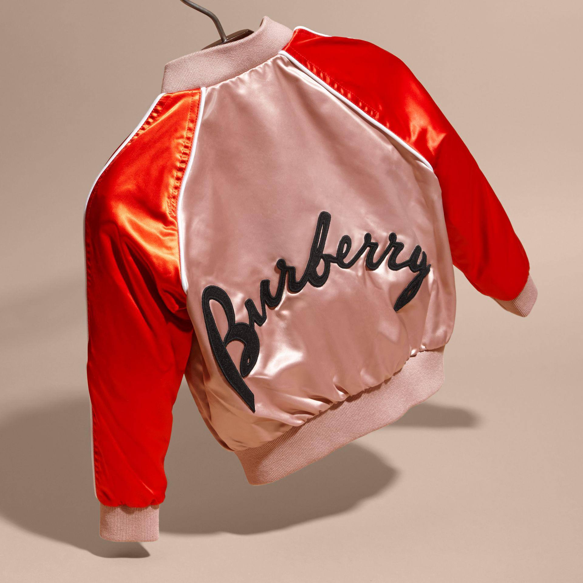 Ash rose Satin Bomber Jacket with Embroidered Decorative Lettering Motif - gallery image 4