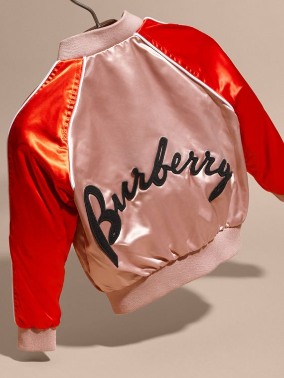 Embroidered Lettering Motif Satin Bomber Jacket - cell image 3