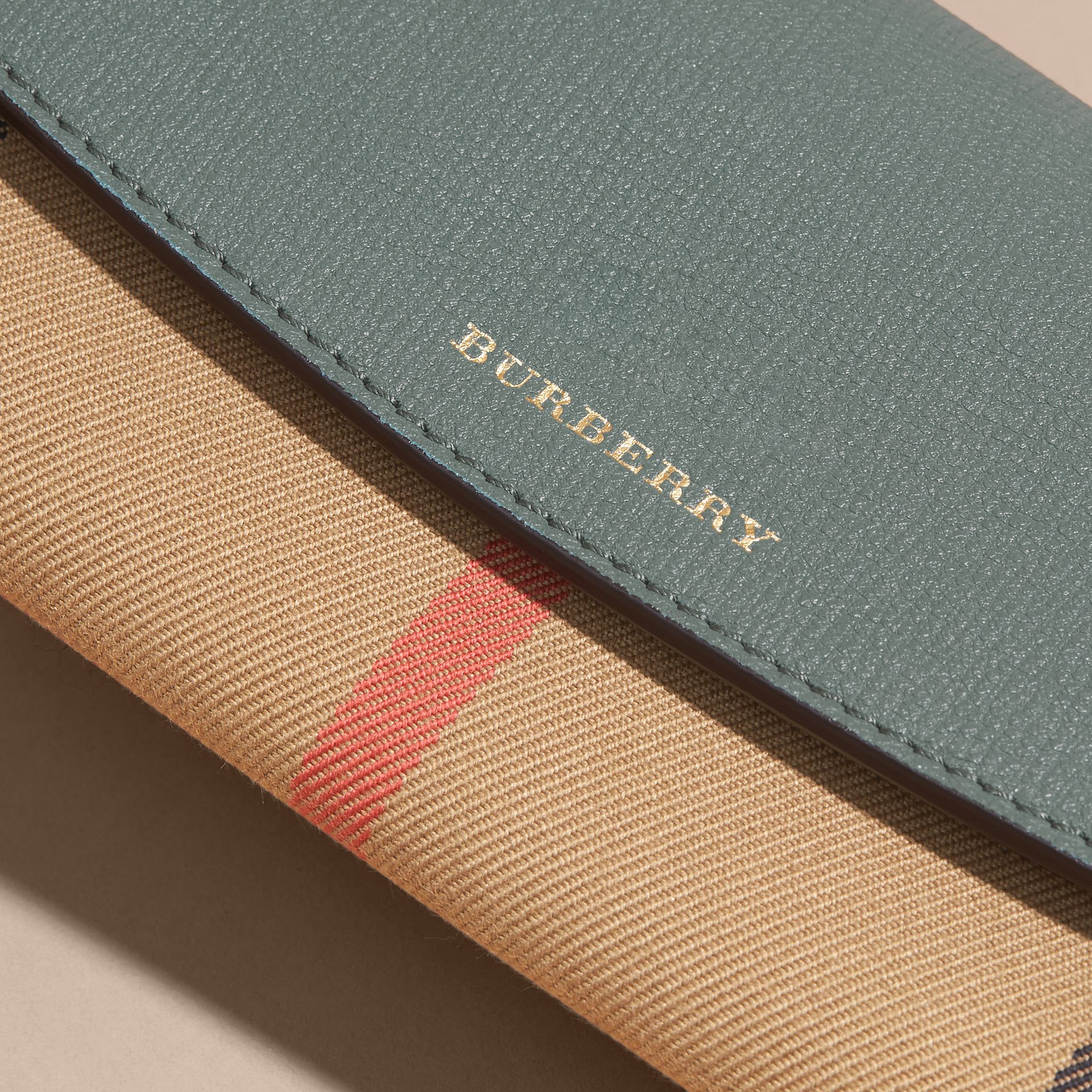 House Check and Leather Continental Wallet in Smokey Green - Women | Burberry - gallery image 4