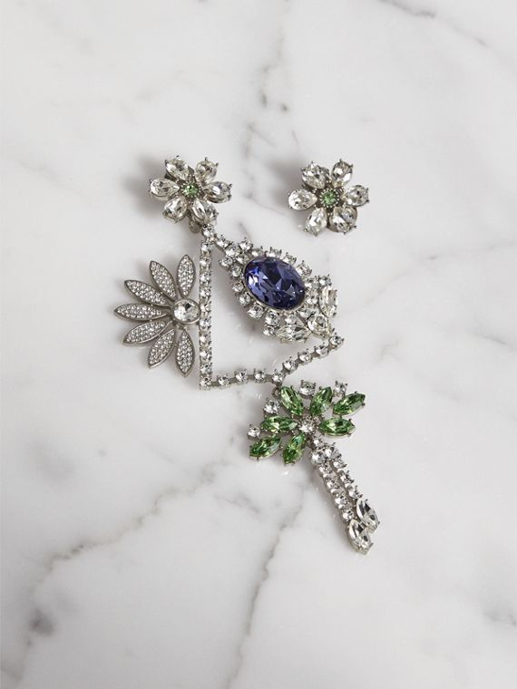 Crystal Daisy Chandelier Earring and Stud Set in Peridot Green