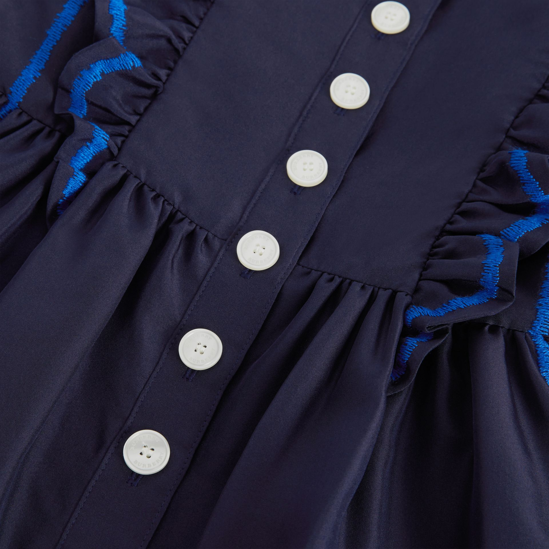 Ruffle Detail Embroidered Silk Dress in Navy | Burberry - gallery image 1