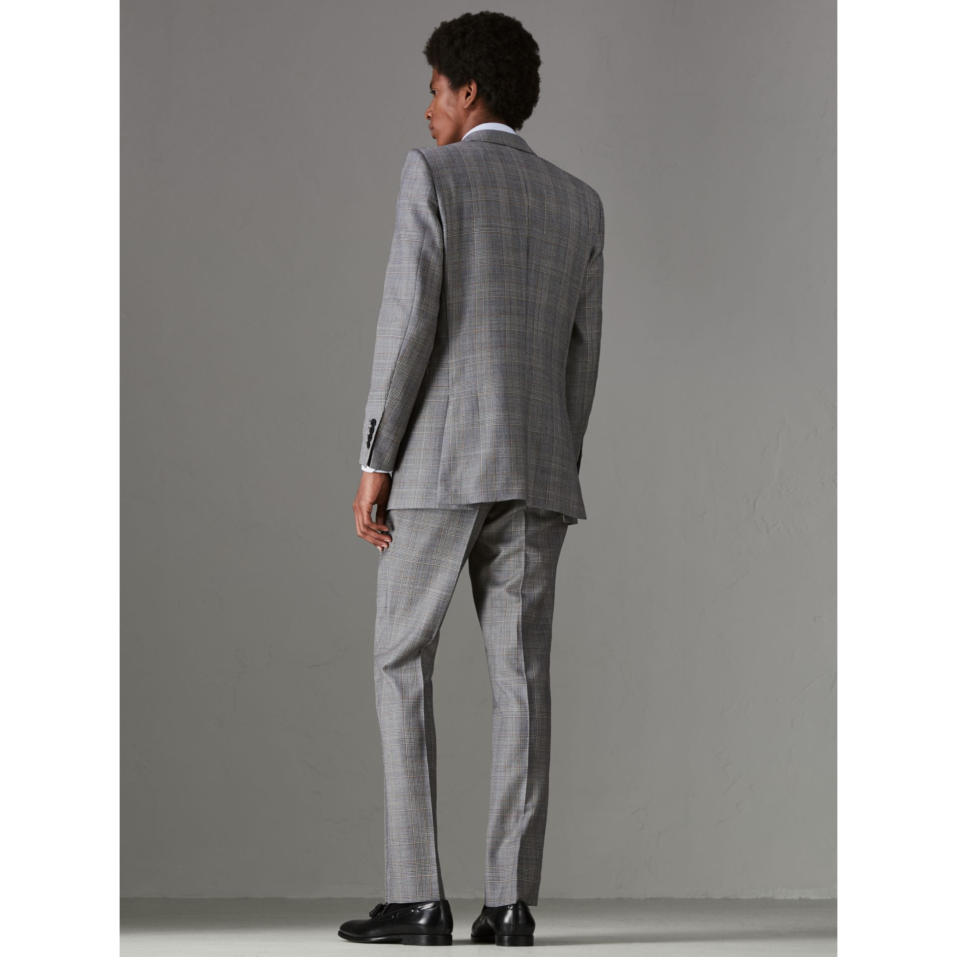 Slim Fit Prince of Wales Check Wool Cashmere Suit in Mid Grey - Men | Burberry - gallery image 2