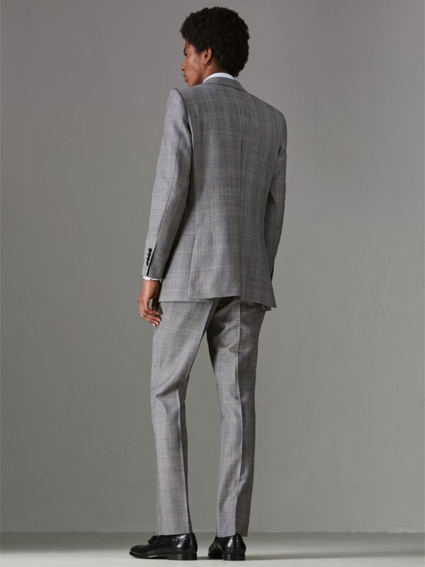 Slim Fit Prince of Wales Check Wool Cashmere Suit in Mid Grey - Men | Burberry - cell image 2