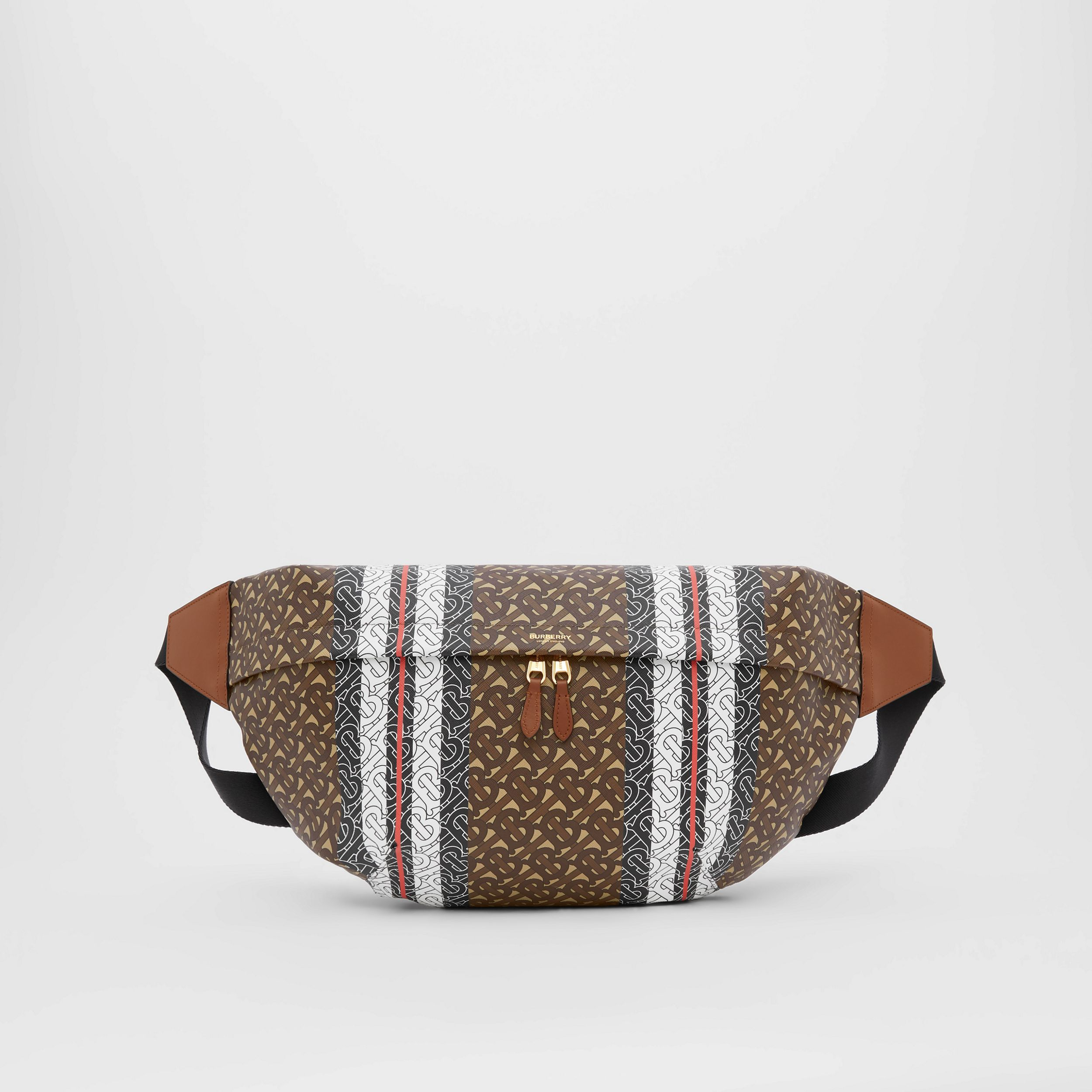 Extra Large Monogram Stripe E-canvas Bag in Bridle Brown | Burberry - 1