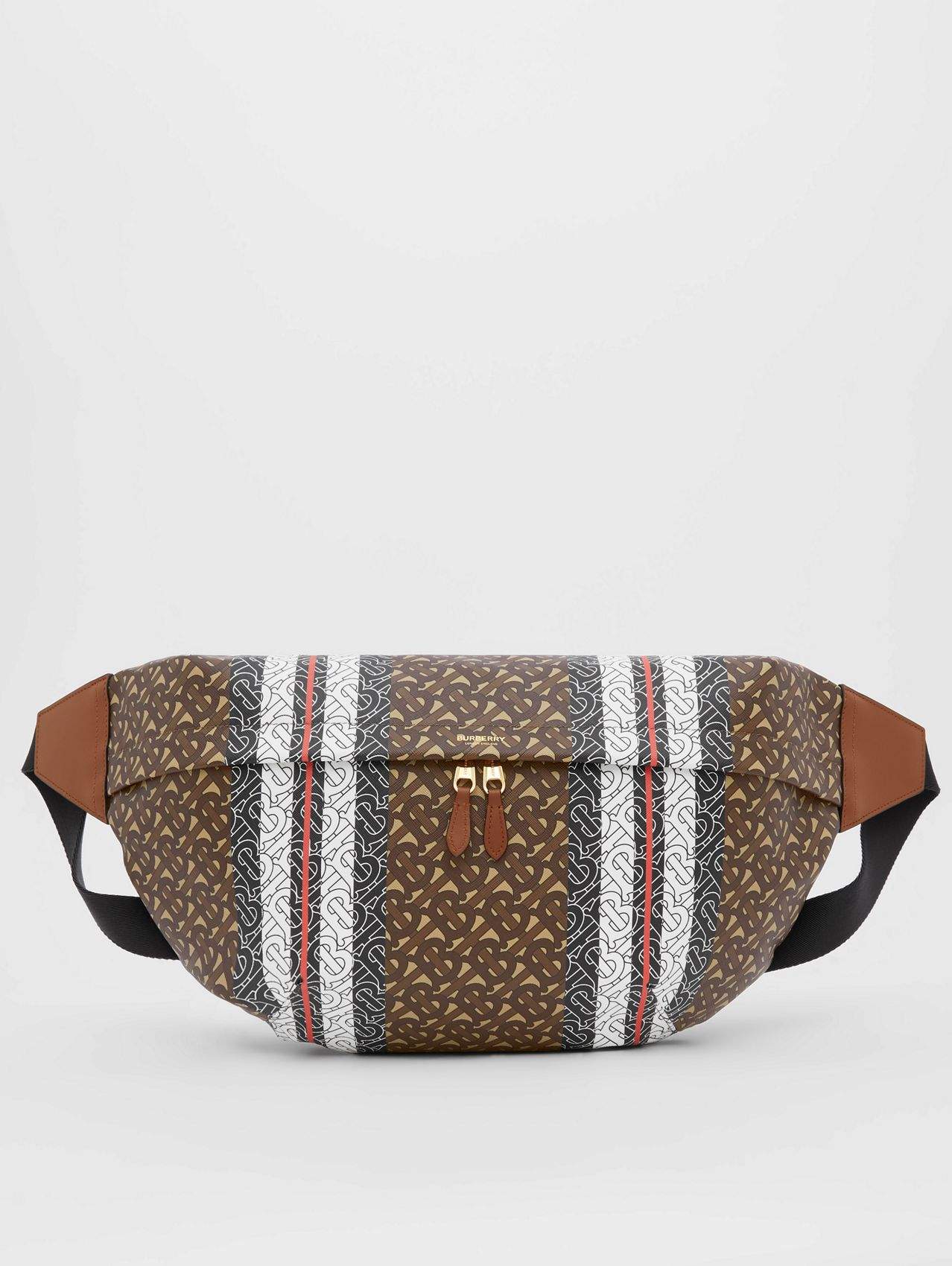 Extra Large Monogram Stripe E-canvas Bag in Bridle Brown